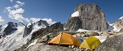 Ken - Resting at Apple Bee Camp (Teacozy Design & Photography) Tags: mountain rock nikon pano hard tent wear spire climbing alpine granite trad cairn msr d3 bugaboos