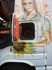 """Tracteur MERCEDES """"Broquerault"""" (xavnco2) Tags: portrait tractor france truck mercedes cabin expo exposition lorry camion handpainted trucks transports peint tracteur benne arras cabine lkw semitrailer pasdecalais camions autocarro 2011 actros semiremorque dcor broquerault"""