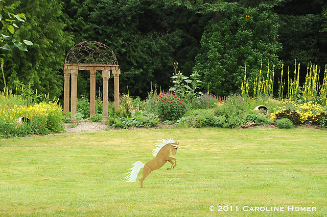 A playful garden display at Dragonfly Farms & Nursery