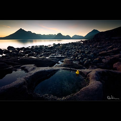 A Calm Evening over Elgol (David Hannah) Tags: sunset mountain skye beach island evening scotland duck highlands rubber highland pools shore vista peaks gloaming rockpools munro elgol coastuk summertimeuk welcomeuk