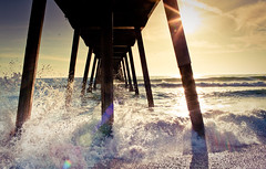 To Pier or not to Pier! (California CPA) Tags: california light summer sky sun beach wet 35mm pier waves f14 flare esther 5d positive splash refreshing hermosa m2