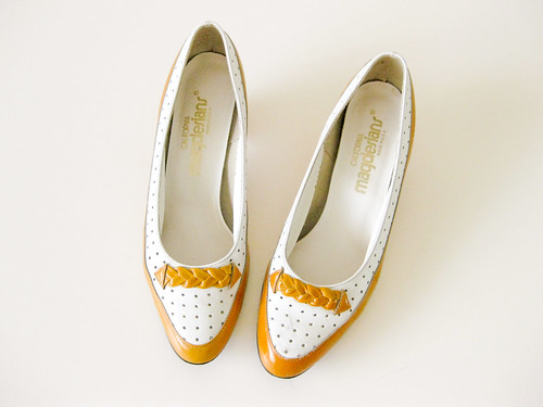white & yellow patent heels