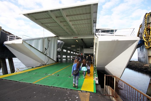 Foot passengers board the ferry MV Sorrento at Queenscliff