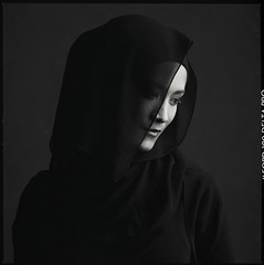 (kamal iklil) Tags: portrait people bw 120 film beauty asia muslim hijab hasselblad delta100 ilford f4 bnw sonnar carlzeiss 150mm 503cxi