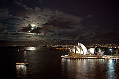 moon-rise over the harbour (Luke Tscharke) Tags: city moon reflection night geotagged rising lights bright harbour sydney fullmoon rise operahouse harbourbridge geo:lat=3385458597862254 geo:lon=15120950767263025