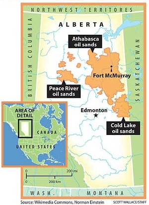 Tar Sands Map - Alberta Only