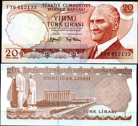 20 Lír Turecko 1970(74), Pick 187