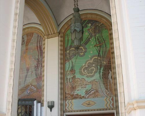 Casino murals & chandelier