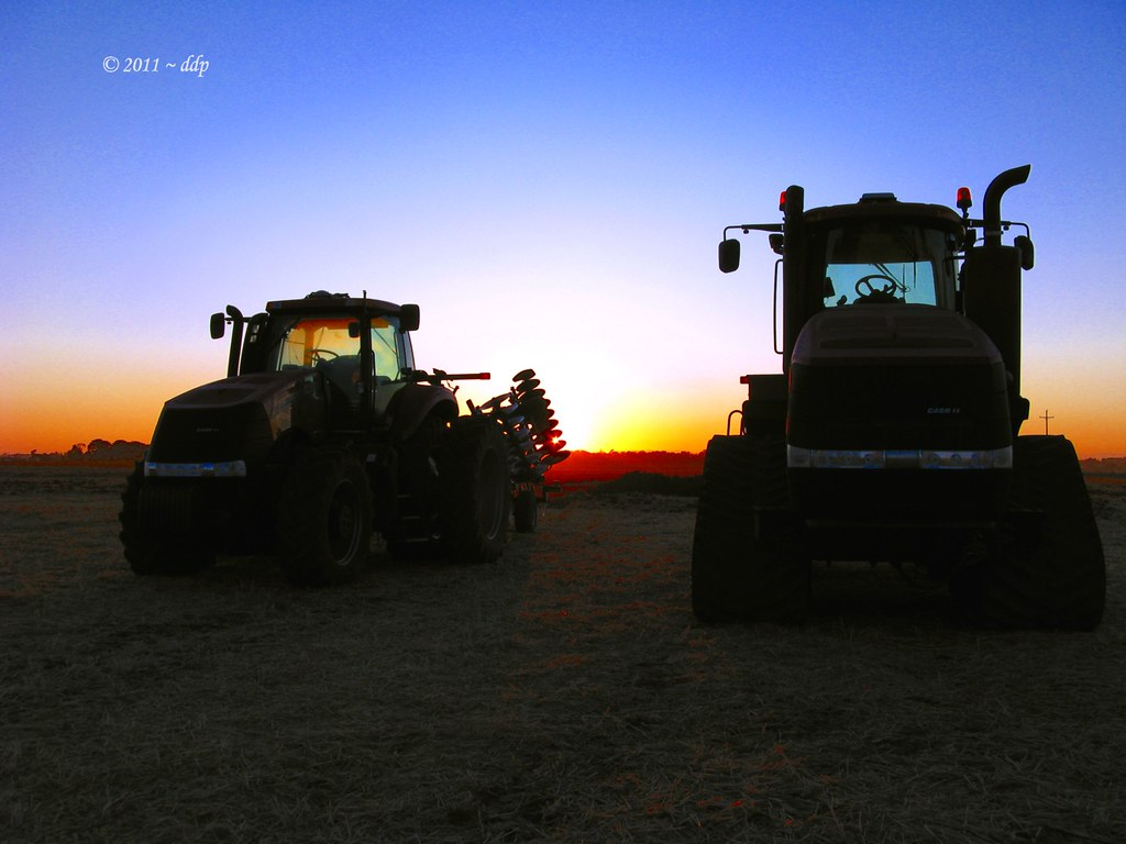 Two Huge CASE IH Farm Tractors at Sunrise this Morning