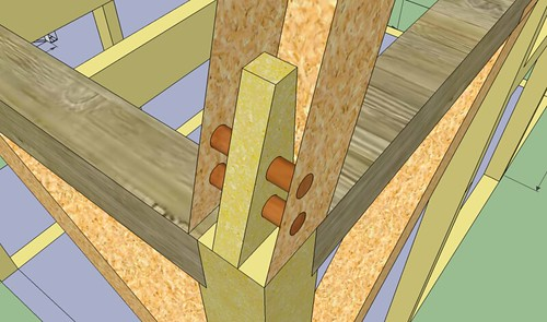 Joinery mortise and tenon roof to second floor detail