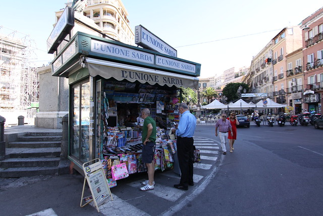 Newsstand at the Piazza Yenne in downtown Cagliari.