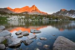 Kearsarge Sunset (Jeff Pang) Tags: california red mountain lake reflection rocks sierra pinnacles alpenglow