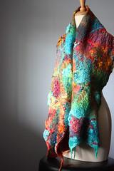 Nuno Felted scarf (VitalTemptation , Etsy) Tags: wool collage felted scarf felting silk fiberart multicolored nuno arttowear wetfelt feltedscarf