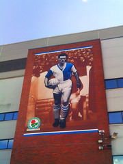 Billboard of Blackburn Rovers legend, Ronnie Clayton at Ewood Park (DefinitelyMotoring) Tags: park football clayton ground blackburn ronnie legend rovers ewood