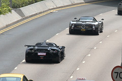 Pagani Zonda F leading a Gumpert Apollo, Admiralty, Hong Kong (Daryl Chapman's - Automotive Photography) Tags: auto china cars car speed canon hongkong italian automobile power wheels engine german 7d autos apollo supercar sar admiralty supercars mental pagani gumpert zondaf 18135mm worldcars
