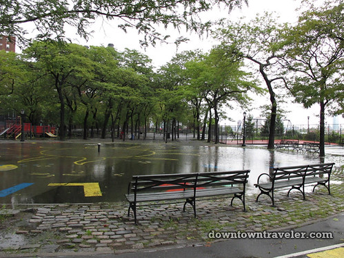 Aftermath of Hurricane Irene in NYC_East River Park playground 2