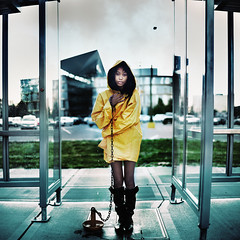 going down. (karrah.kobus) Tags: city portrait urban cold girl rain minneapolis down anchor raincoat hopeless