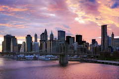 post-irene sunset over lower manhattan, nyc (andrew c mace) Tags: nyc sunset newyork skyline cityscape manhattan aerial financialdistrict southstreetseaport brooklynbridge manhattanbridge eastriver lowermanhattan nikkor1855 colorefex beekmantower nikoncapturenx nikond90 hurricaneirene