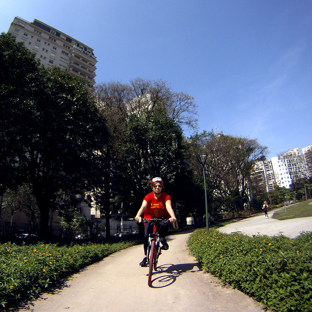 Eu fui de bike...