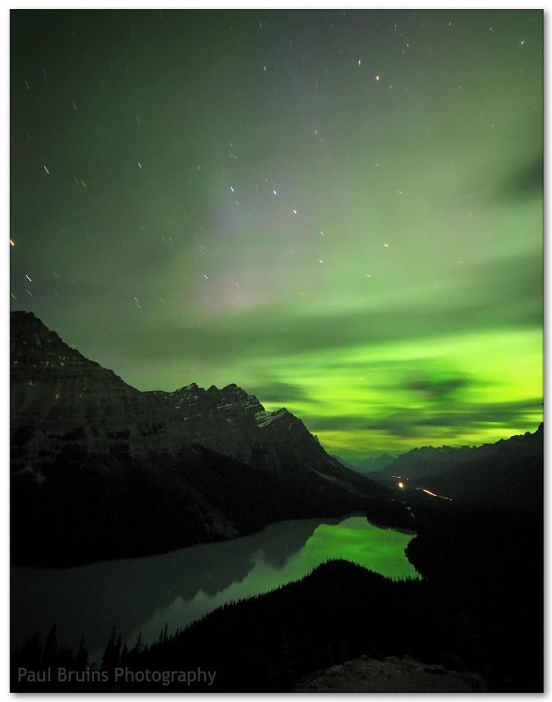Northern Lights over Peyto Lake