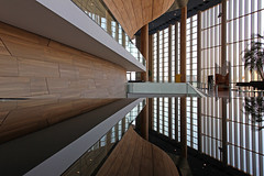Inside the Palace of Arts 13 (Romeodesign) Tags: wood windows glass lines architecture reflections mirror hungary geometry interior balcony budapest arts piano palace 550d palaceofarts palotja mpa mvszetek gettyhungary1