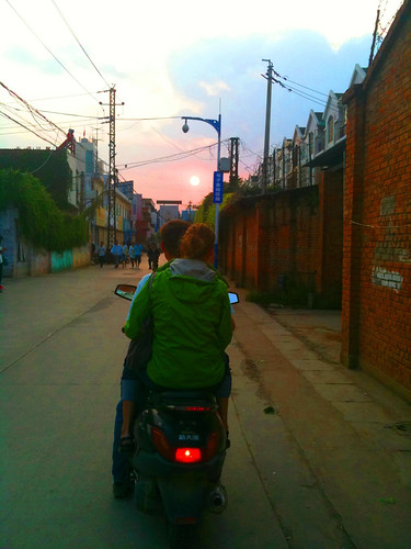 moped sunset
