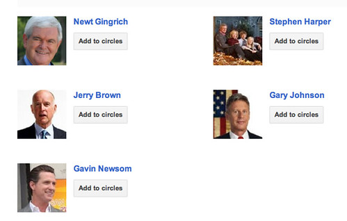 Newt Gingrich, Jerry Brown, Stephen Harper, Gary Johnson, Gavin Newsom