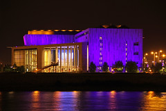 The Palace of Arts from outside - night shot (Romeodesign) Tags: architecture night reflections river lights hungary purple geometry budapest arts palace duna danube 550d palaceofarts palotja mpa mvszetek gettyhungary1