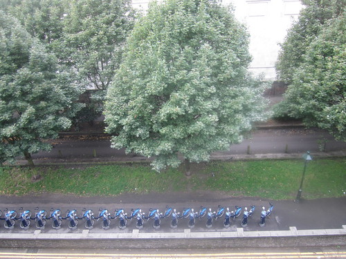 View of Barclays Bikes from Rooftop of Brompton Road