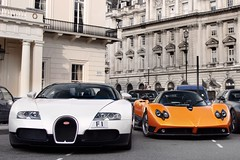 Dynamic Duo. (Alex Penfold) Tags: auto camera orange white black london cars alex sports car sport mobile canon photography eos photo cool flickr chelsea image awesome flash picture super run f1 spot kahn exotic photograph f legends spotted hyper bugatti supercar spotting numberplate exotica sportscar zonda sportscars supercars combo veyron roadster pagani penfold spotter 2011 pistonhead hypercar 60d hypercars alexpenfold