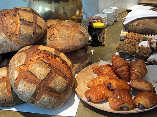 bread, pains au chocolat and croissants