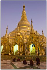 Blue Hour Prayers | Shwedagon Paya (Pagoda) | Yangon (I Prahin | www.southeastasia-images.com) Tags: blue sunset sunlight architecture bells diamonds temple gold pagoda dusk buddha yangon burma stupa buddhist special monks palmtree myanmar paya spiritual relics prayers gleaming rangoon entrace buddhists novice northerngate