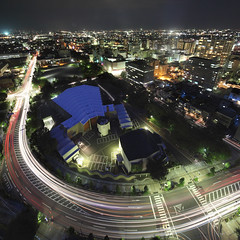 Epic rapid (spiraldelight) Tags: night cityscape pano explore lighttrails gunma takasaki  lightstream  eos5dmkii tse17mmf4l fromtakasakicityhall