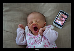 Technology (nune) Tags: portrait baby girl mobile technology phone web yawn smartphone tired newborn online gape htc 2011