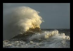 Booosh!!! (Capt' Gorgeous) Tags: sea sky lighthouse white storm weather southwales coast rocks wind harbour spray foam breakwater porthcawl whitehorses