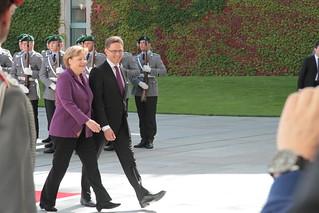 Saksan liittokansleri Angela Merkel ja pääministeri Jyrki Katainen - Chancellor of Germany Angela Merkel and Prime Minister Jyrki Katainen