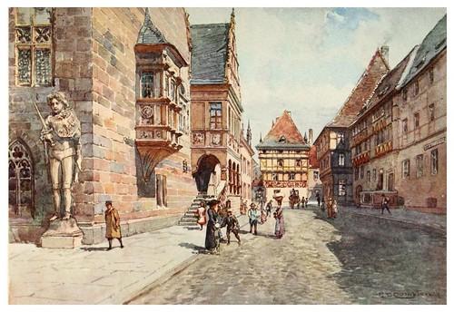 015-Calle y Ayuntamiento en Halberstadt-Germany-1912- Edward y Theodore Compton ilustradores