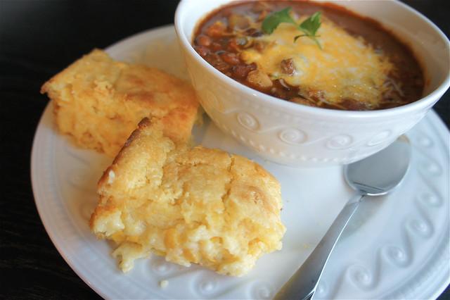 Corn casserole and chili