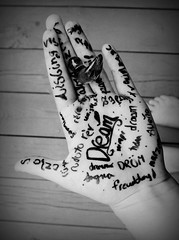 dream,  -[dreem]- verb- definition: to imagine; suppose; fancy (-Little Voice-) Tags: white black bird hand many dream figure marker written languages