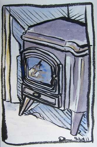 Watercolor Sketch of Coal Stove by Danalynn C