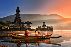 Pura Ulun Danu, Bedugul, Bali - Morning (Mio Cade) Tags: trip morning bali woman sun lake colour reflection water girl lady female sunrise canon pose indonesia landscape temple eos model colorful asia colourful pura ulun danu arrange polariser bedugul