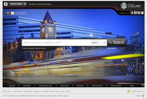 Bing anyone? (City of Calgary homepage)
