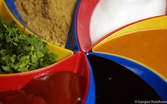 Colorful serving (EighteenPercentGray) Tags: trip family light red party vacation food usa india holiday abstract color green art yellow festival canon fun photography 50mm design photo pattern dish photos indian side joy hobby delicious ii ritual taste tradition f18 diwali hindu ef bharat organize plating arrange canonef50mmf18ii mairrage