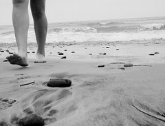 Every Step I take, (BoomBoxBecc2) Tags: ocean california sea vacation blackandwhite bw seaweed feet beach girl swimming walking sand rocks waves legs sandiego surfing teenager knees seagrass teenagegirl beachrocks walkingonthebeach girlonbeach