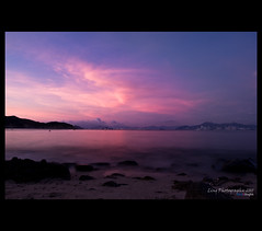 Fascinating sunset (LingHK) Tags: ocean pink blue sunset sea sky sun color colour beach water beautiful weather rock clouds sunrise island evening amazing fantastic sand colorful warm long exposure glow dusk smooth hong kong nightfall chau cheung