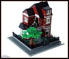 Lego English Classic Town House (=DoNe=) Tags: red house building english me by architecture dark design town lego homemade custom done built legotownhouse legoenglishtownhouse93