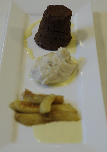 Chocolate Puddings with Creme Anglaise, Sauteed Bananas & Banana Ice Cream