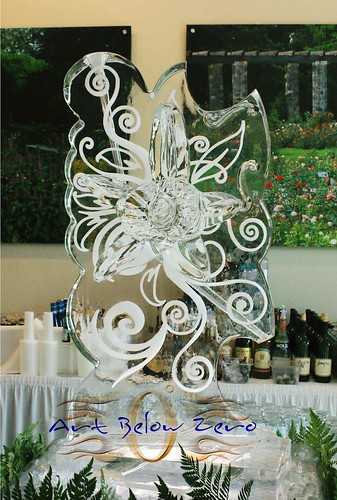 Orchid 3D and Snowfilled Luge ice sculpture