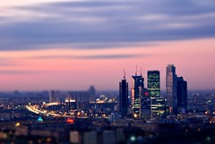 Dusk In The Toy City (Serge Freeman) Tags: city sunset architecture photoshop buildings cityscape skyscrapers russia dusk moscow horizon aerial