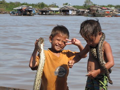 one dollar for the picture please (miau31) Tags: animal children cambodge cambodia kambodscha snake python tonlesap